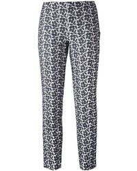 Jil Sander Navy Tapered Floral Print Trousers