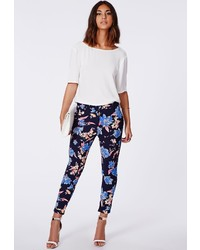 Missguided Gwen Floral Print Cigarette Trousers Navy