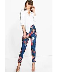 Boohoo Nova Autumn Floral Stretch Skinny Trousers