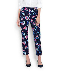 Lands' End Petite Mid Rise Chino Crop Pants Deep Sea Print