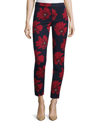 Lela Rose Poppy Print Cropped Pants Navy Pattern