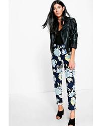 Boohoo Reylan Large Floral Crepe Stretch Skinny Trousers