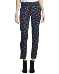 Rebecca Taylor Sakura Cropped Floral Skinny Pants Navy