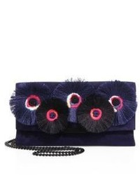 Loeffler Randall Floral Embroidered Suede Tab Clutch