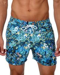 Jared Lang Floral Print Swim Trunks Blue Pattern