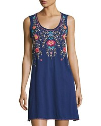 Johnny Was Jwla For Floral Embroidered Tank Dress Navy