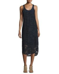 Rag & Bone Stella Floral Laser Cut Tank Dress Navy