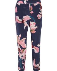 Giulia cropped floral print slim leg pants navy medium 1044738