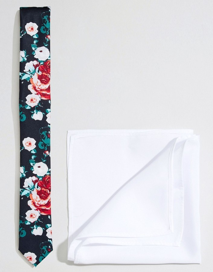 super popular 29fd5 71da9 ... Asos Brand Wedding Floral Tie And Pocket Square Pack Save 21% ...
