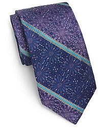 Robert Graham Striped Floral Silk Tie