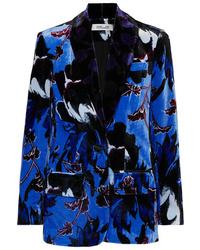 Diane von Furstenberg Tommy Floral Print Velvet Blazer