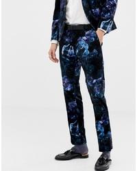 Twisted Tailor Super Skinny Suit Trouser In Printed Floral Velvet