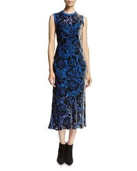 DKNY Sleeveless Floral Velvet Midi Dress Blue