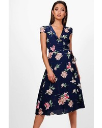 Boohoo Boutique Perrie Micro Ruffle Floral Wrap Dress