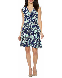 Robbie Bee Cap Sleeve Floral Wrap Dress