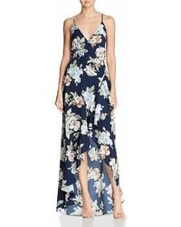Aqua Floral Faux Wrap Gown 100%