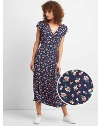 Gap Floral Print Midi Wrap Dress