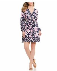 Eliza J Mixed Floral Print Surplice Neckline Faux Wrap Dress