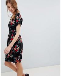 Qed London Floral Wrap Pencil Dress