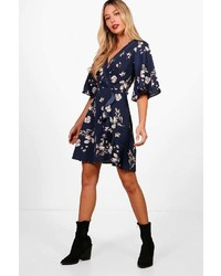 Boohoo Rory Ladder Trim Flute Sleeve Floral Tea Dress