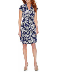 Liz Claiborne Short Sleeve Floral Wrap Dress
