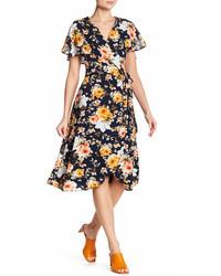Spirit Of Grace Floral Print Surplice Wrap Dress