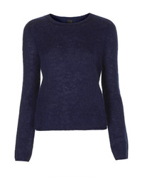 Navy Fluffy Crew-neck Sweaters for Women | Women's Fashion