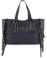 Valentino C Rockee Studded Fringe Leather Tote Bag Denim Blue