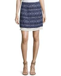 MICHAEL Michael Kors Michl Michl Kors Fringe Trim Mini Skirt Blue Pattern