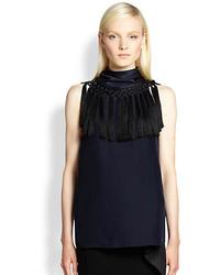 Silk calypson fringe trim blouse medium 229831
