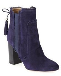 Navy Fringe Suede Ankle Boots