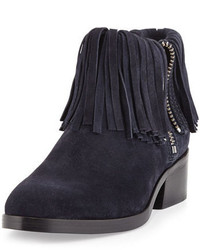 3.1 Phillip Lim Alexa Fringed Suede Ankle Bootie Night