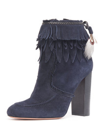 Aquazzura Fringed Suede Ankle Boot Ink