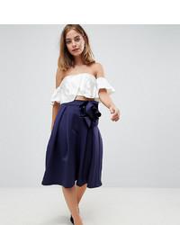 Asos Petite Asos Design Petite Scuba Prom Midi Skirt With Corsage Detail