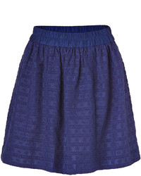 Marc by Marc Jacobs Blue Cotton Silk Daisy Embroidered Skirt