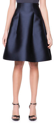 Giorgio Armani High Waist Silk Gazar Full A Line Skirt Navy ...