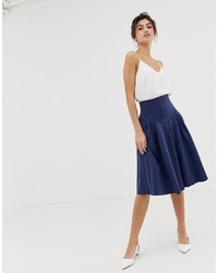 ASOS DESIGN Seamed Skater Midi Skirt With Box Pleats