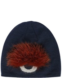 Fendi Monster Eye Wool Beanie Hat With Fox