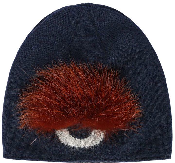 9e43f0eba92 ... Fendi Monster Eye Wool Beanie Hat With Fox ...