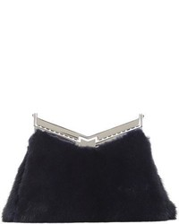 Navy Fur Clutch