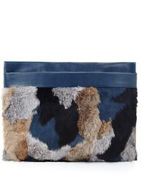 Anissa leather and rabbit fur clutch medium 172322