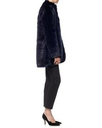 Charlie Brear Navy Faux Fur Coat | Where to buy & how to wear