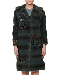 Valentino Fur Coat Wjapanese Butterfly Appliqu Blue