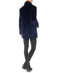 Alexander Wang Galaxy Blue Faux Fur Pea Coat | Where to buy & how ...