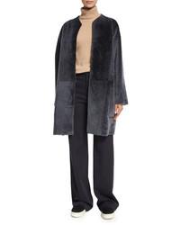 Vince Reversible Shearling Fur Car Coat Graphite