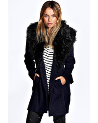 Boohoo Libby Shawl Faux Fur Collar Fitted Coat
