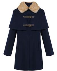 ChicNova Fur Collar Cloak Medium Style Coat