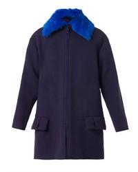 Kenzo Contrast Collar Textured Wool Blend Coat