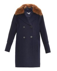 Vince Fur Collar Double Breasted Coat