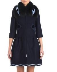 Fendi Fur Collar Wool Cashmere Coat